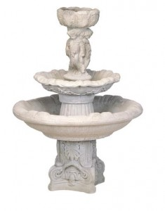 2 Tier Round Fountain/3 Cherubs Deep Bowl