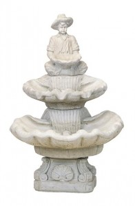 2 Tier Medium Seashell Fountain/Boy Holding Lily