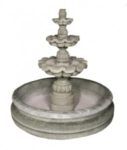 3 Tier Cantera Basin Fountain