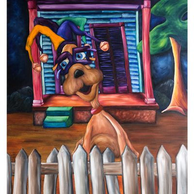 Art of Joshua Matherne - Fat Tuesday - Mardi Gras Art Print with Whimsical Dog