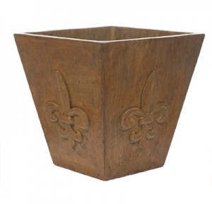 XL Tapered Square Fleur De Leis Planter