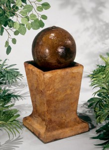 Sphere on Low Pedestal Fountain