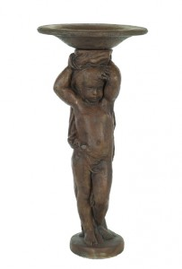 Tall Cherub with Shallow Bowl on Head