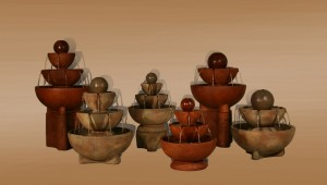 Large Sphere Stone Vessels Fountain on Pedestal
